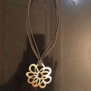 Jewelry - Gold Tone Pendant on Black Cord